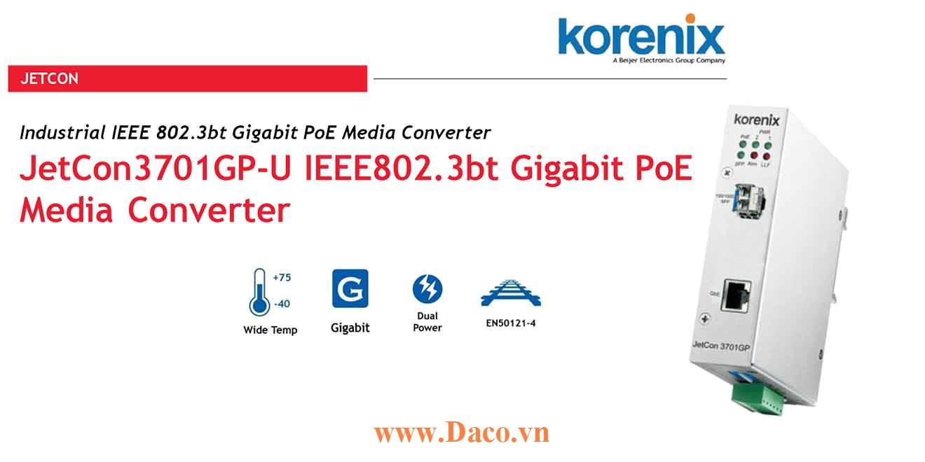 JetCon 3701GP-U Korenix Bộ chuyển đổi truyền thông công nghiệp LAN-Fiber 1 Port Gigabit POE LAN, 1 Port Fiber