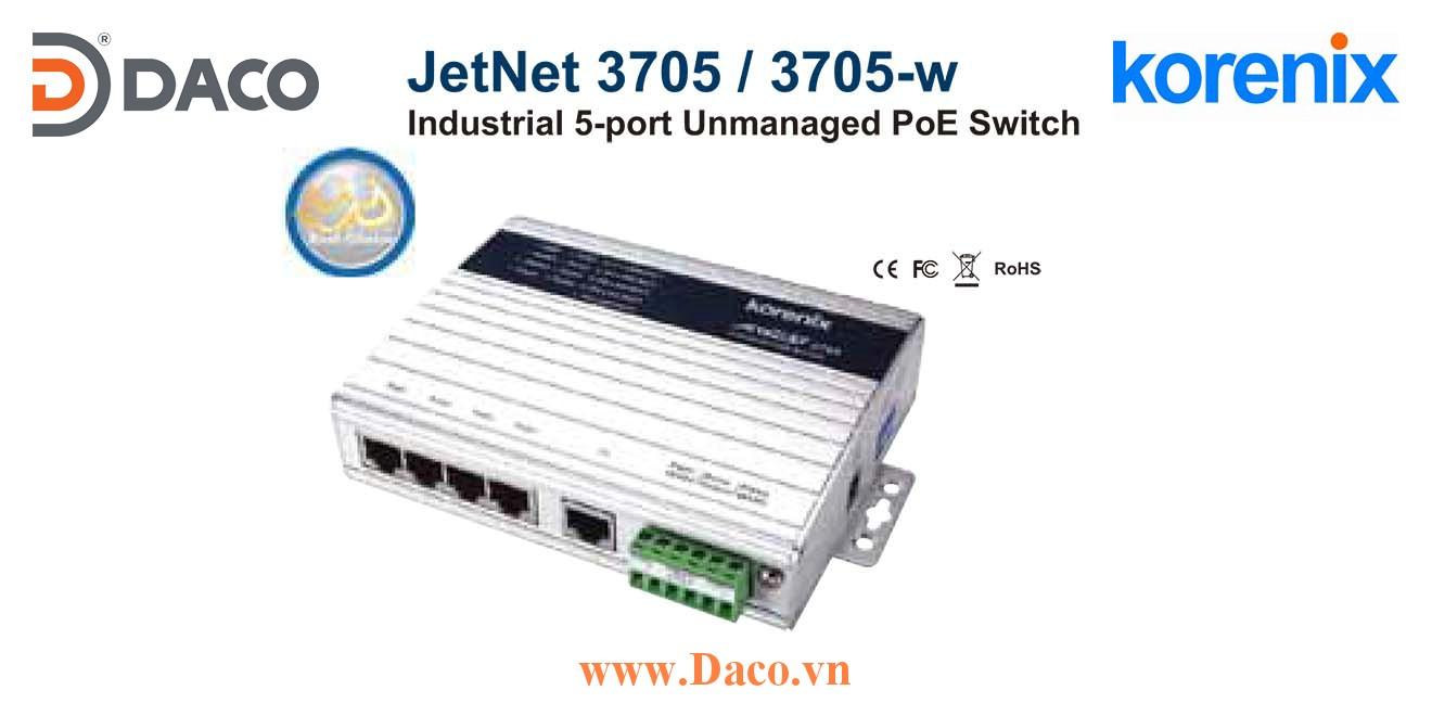 JetNet 3705 Korenix Industrial 5-port Power Over Ethernet Switch  5 POE Port