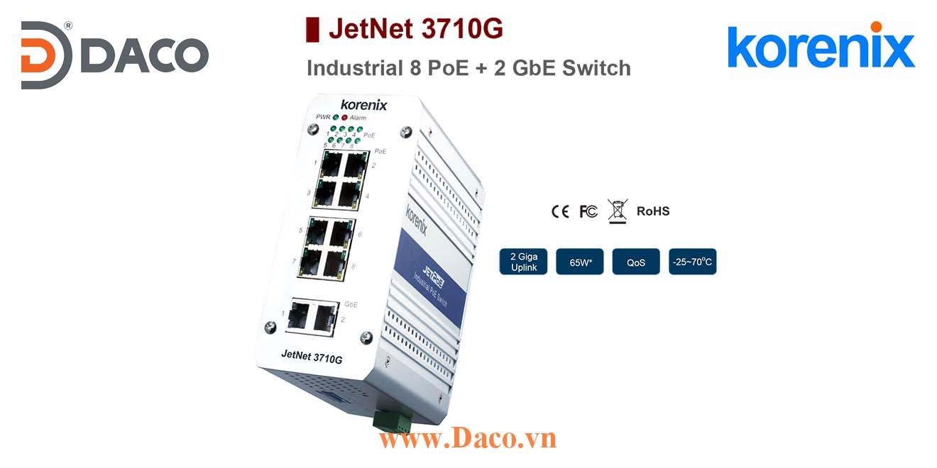 JetNet 3710G Korenix Industrial PoE Switch  8 POE Port+2 GbE Port