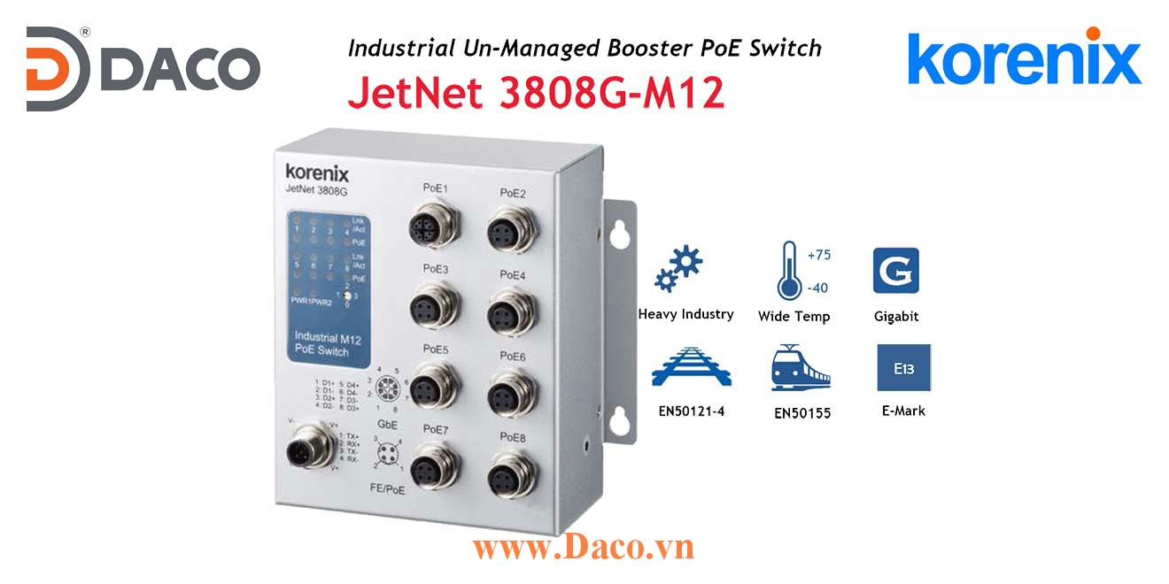 JetNet 3808G-M12 Korenix Industrial POE Unmanaged Booster Switch 8 POE Port