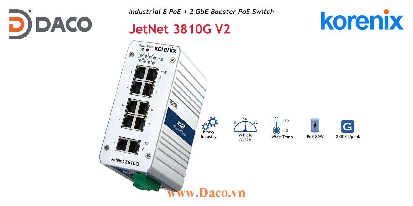 JetNet 3810G V2 Korenix Industrial POE  Booster Switch 8 POE Port+2 GbE Port