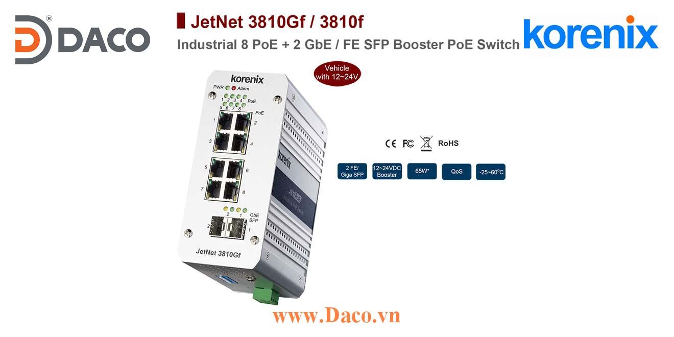 JetNet 3810Gf Korenix Industrial POE SFP Booster Switch 8 POE Port+2 GbE/FE SFP Port