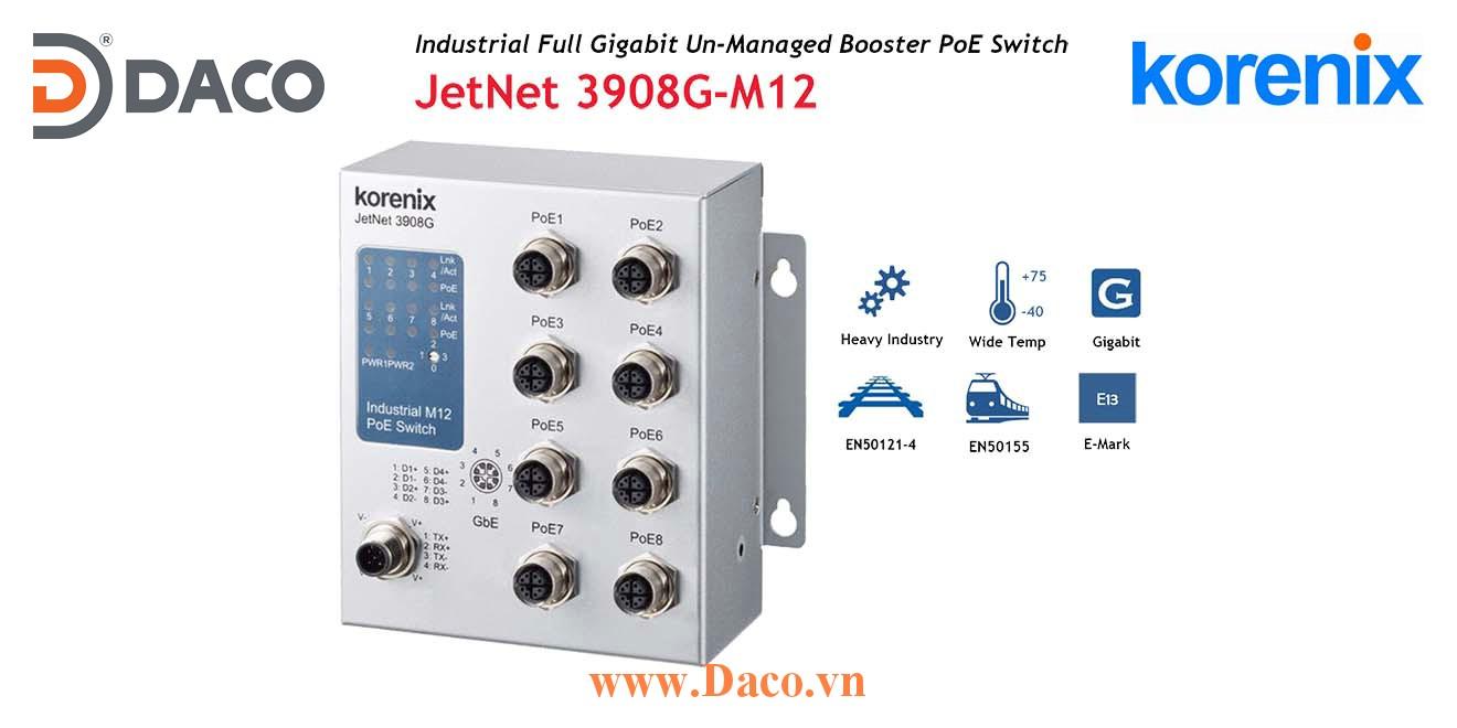 JetNet 3908G-M12 Korenix Industrial POE SFP Booster Switch 8 POE Port