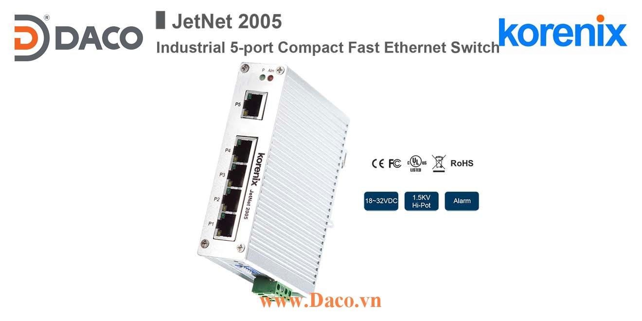 JetNet 2005 Korenix Unmanaged Switch công nghiệp Gigabit Ethernet 5 cổng LAN