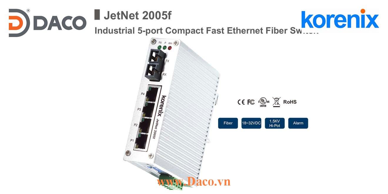 JetNet 2005f Korenix Unmanaged Switch công nghiệp Gigabit Ethernet 4 cổng LAN, 1 cổng quang