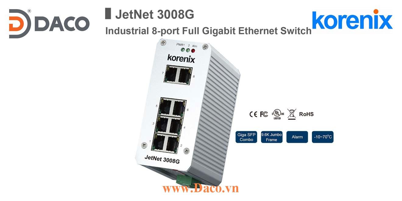 JetNet 3008G Korenix Unmanaged Switch công nghiệp Gigabit Ethernet 8 cổng LAN
