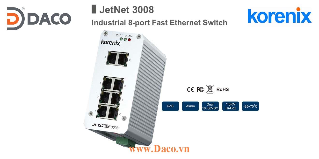 JetNet 3008 Korenix Unmanaged Switch công nghiệp Gigabit Ethernet 8 cổng LAN