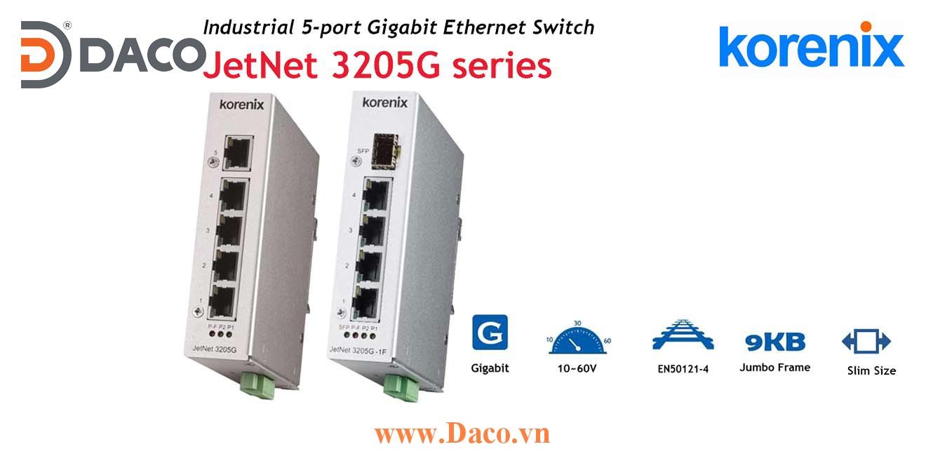 JetNet 3205G Korenix Unmanaged Switch công nghiệp Gigabit Ethernet 5 cổng LAN