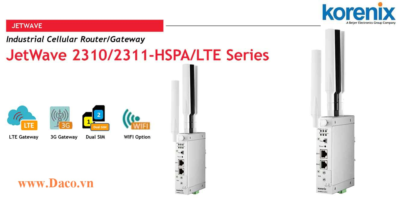 JetWave 2311 Industrial Cellular plus 802.11n 2.4G WIFI IP Gateway