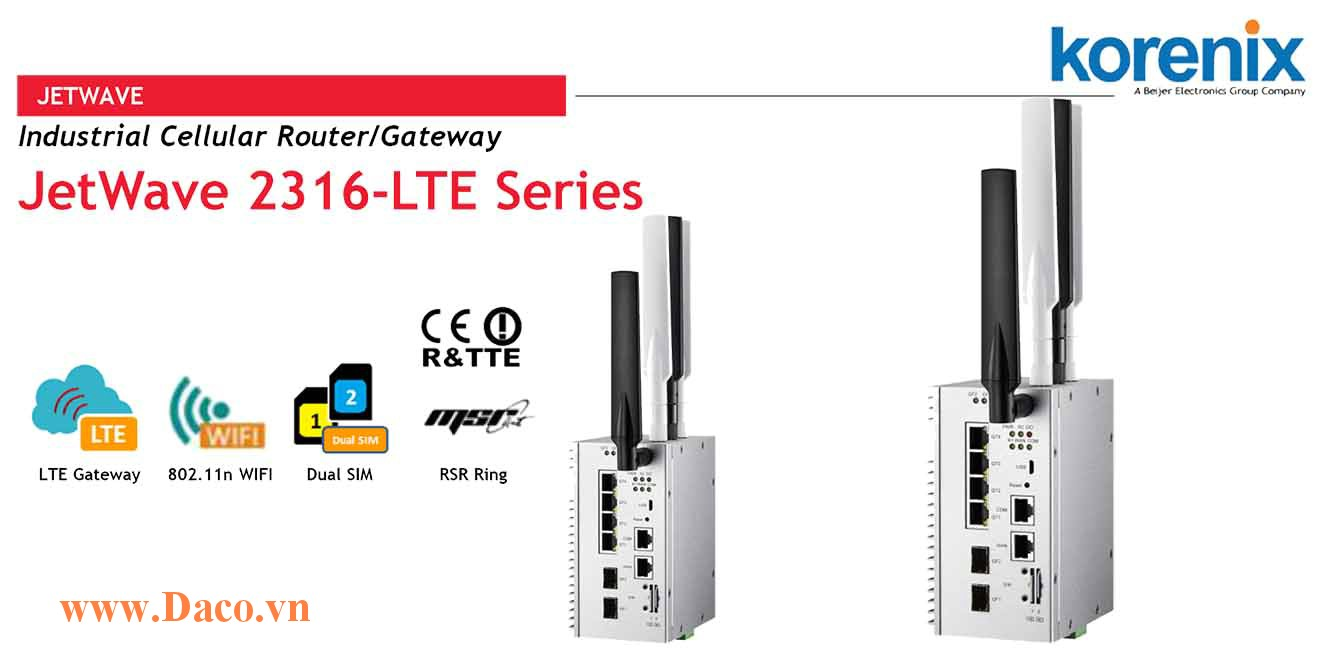 JetWave 2316-LTE Industrial Cellular + WIFI + Gigabit Switch IP Gateway