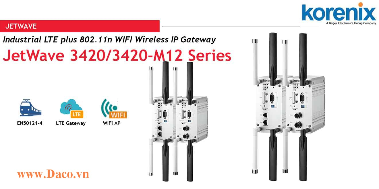 JetWave 3420 V3 Industrial LTE plus 802.11n WIFI Wireless IP Gateway