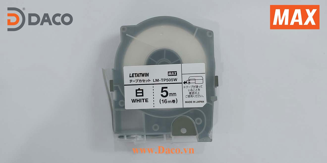 LM-TP505W-16m Hình ảnh thực tế Băng nhãn in ống lồng đầu cốt luồn dây điện MAX Letatwin LM550A-LM550E