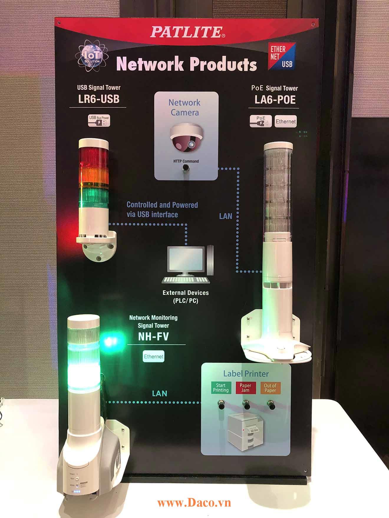 Hình ảnh thực tế sản phẩm đèn báo Patlite điều khiển qua USB hoặc qua mạng LAN POE: LR6-USB, LA6-POE