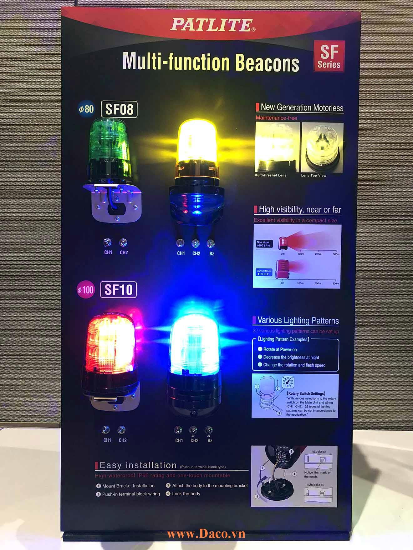 Hình ảnh thực tế sản phẩm đèn báo Patlite đa chức năng SF08-SF10