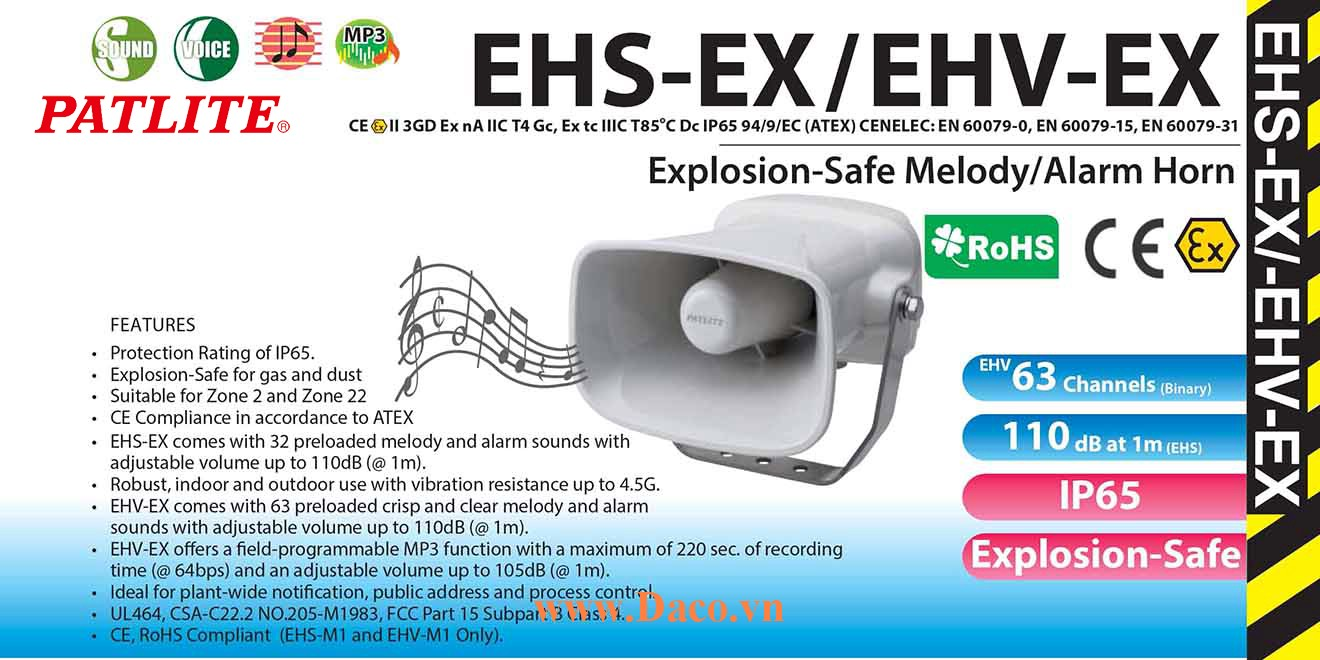 EHV-M1TG-EX Loa báo hiệu MP3 phòng nổ Patlite 63 âm 105dB, ghi âm MP3 IP65, ATEX, Zone 2