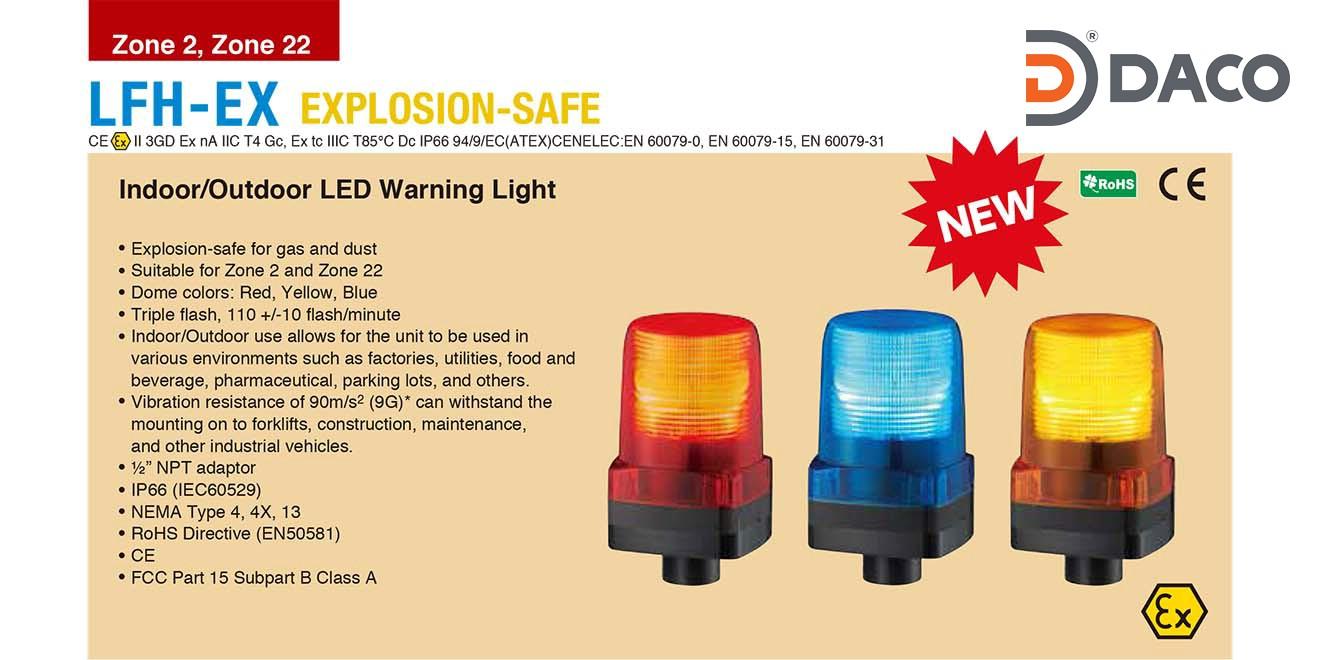 LFH-M2-R-EX Đèn phòng nổ nhấp nháy Patlite Φ100 Bóng LED IP66, 100~240 VAC