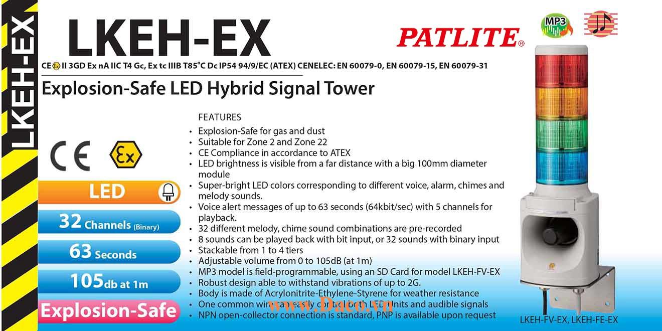 LKEH-502FVW-RYGBC-EX Đèn tháp phòng nổ có loa Patlite 5 Tầng Φ100 Bóng LED, Nhấp nháy 32 âm MP3 105dB, 8 kênh bit đầu vào IP54, ATEX, Zone 2