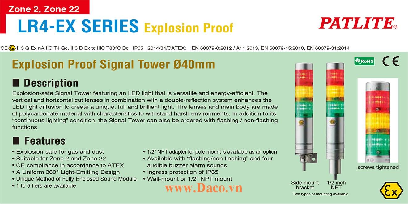 LR6-502NJNU-RYGBC-EX Đèn tháp phòng nổ Patlite Φ60 Bóng LED 5 tầng IP65, ATEX, Zone 2