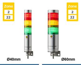 LR6-202NJBU-RG-EX Đèn tháp phòng nổ Patlite Φ60 Bóng LED 2 tầng Còi Buzzer 88dB IP65, ATEX, Zone 2