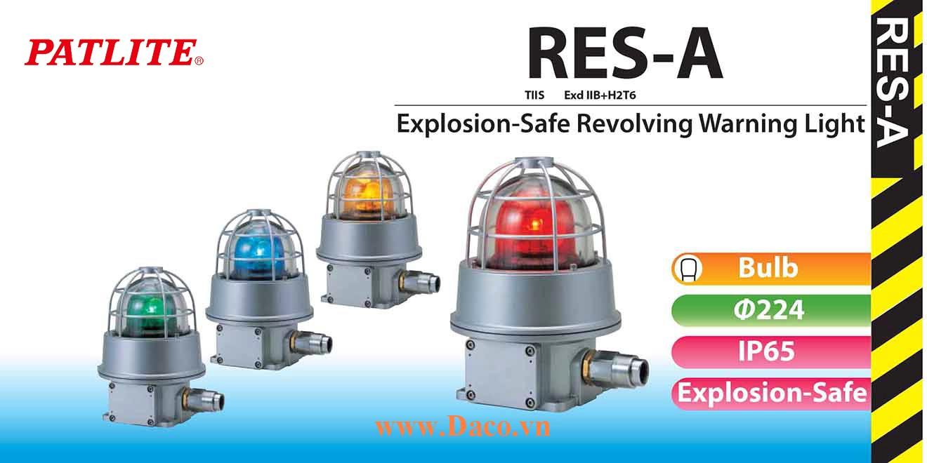 RES-220A-R Đèn quay phòng nổ Patlite Φ224 Bóng Sợi đốt IP65, 220 VAC