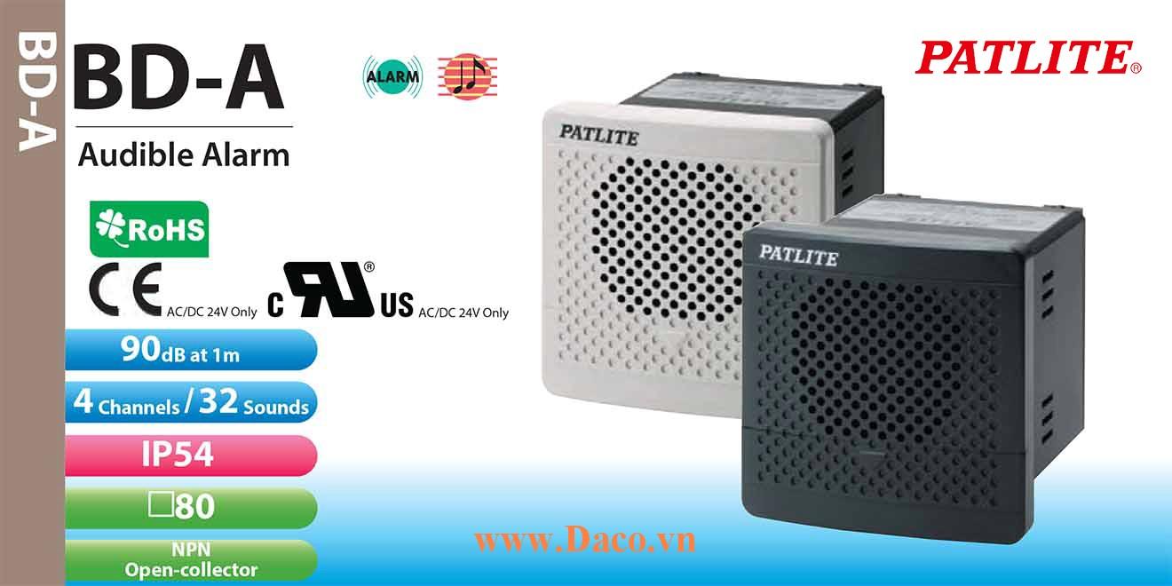 BD-100AC-J Loa báo tín hiệu tủ điện âm MP3 Patlite 32 kênh âm thanh ghi sẵn 90dB IP54