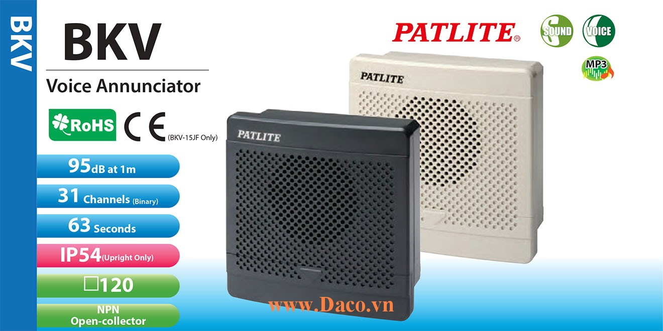 BKV-31QF-J Loa báo tín hiệu tủ điện âm MP3 Patlite 31 kênh thoại MP3 95dB IP54