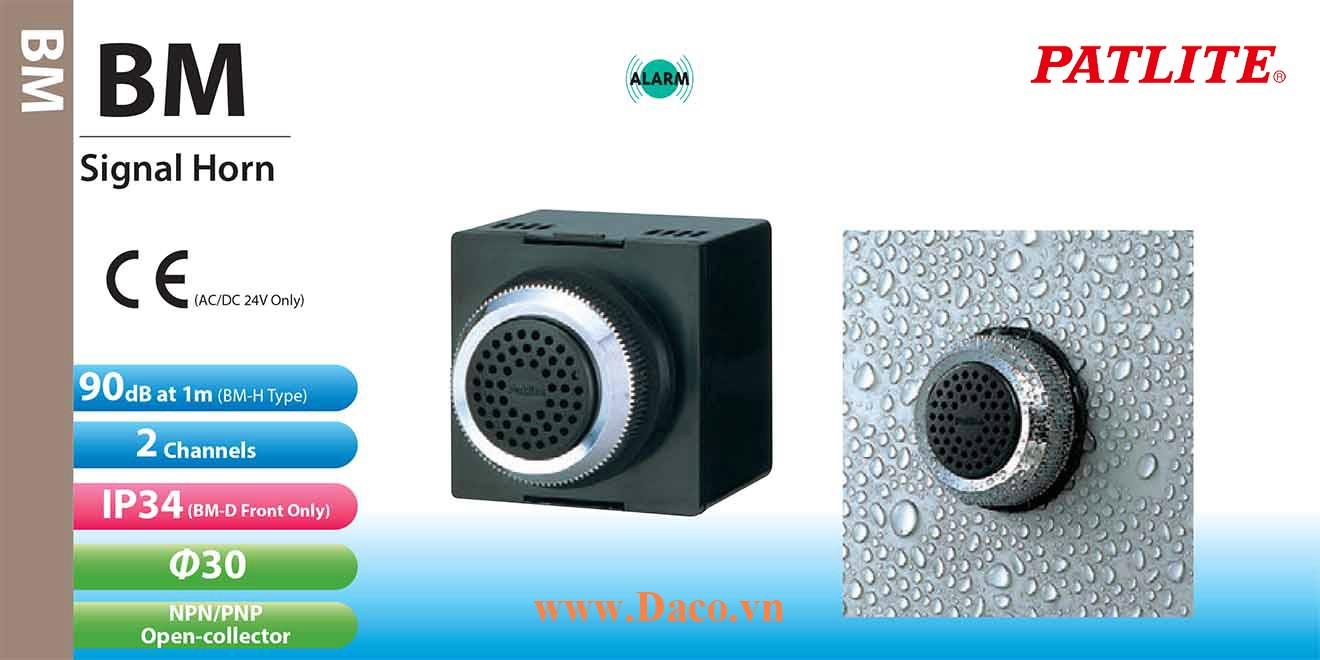 BM-220 Còi báo hiệu tủ điện Patlite 2 âm Buzzer 80~90dB Φ30 IP30