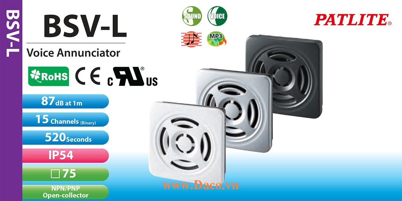 BSV-24PLM-W Loa báo tín hiệu tủ điện âm MP3 Patlite 15 kênh 520s, 87dB IP54