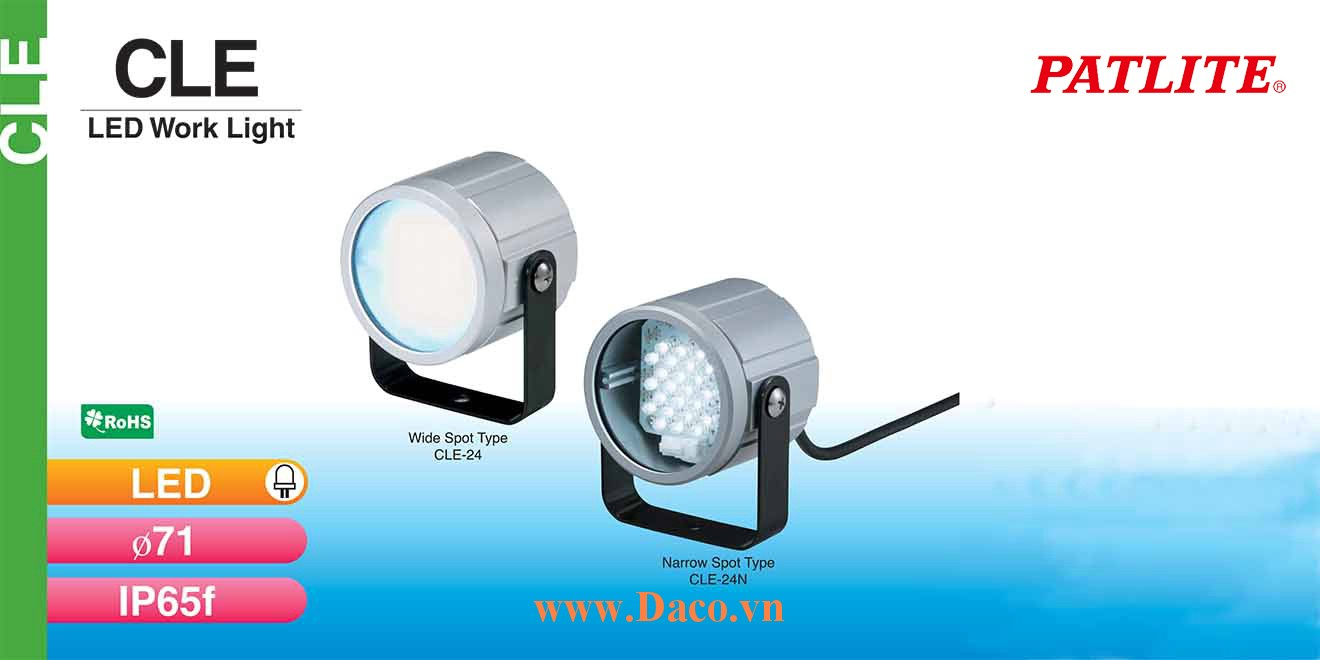 CLE-24N Đèn LED chiếu sáng máy công cụ Patlite Bóng LED Dài Φ71 IP65F