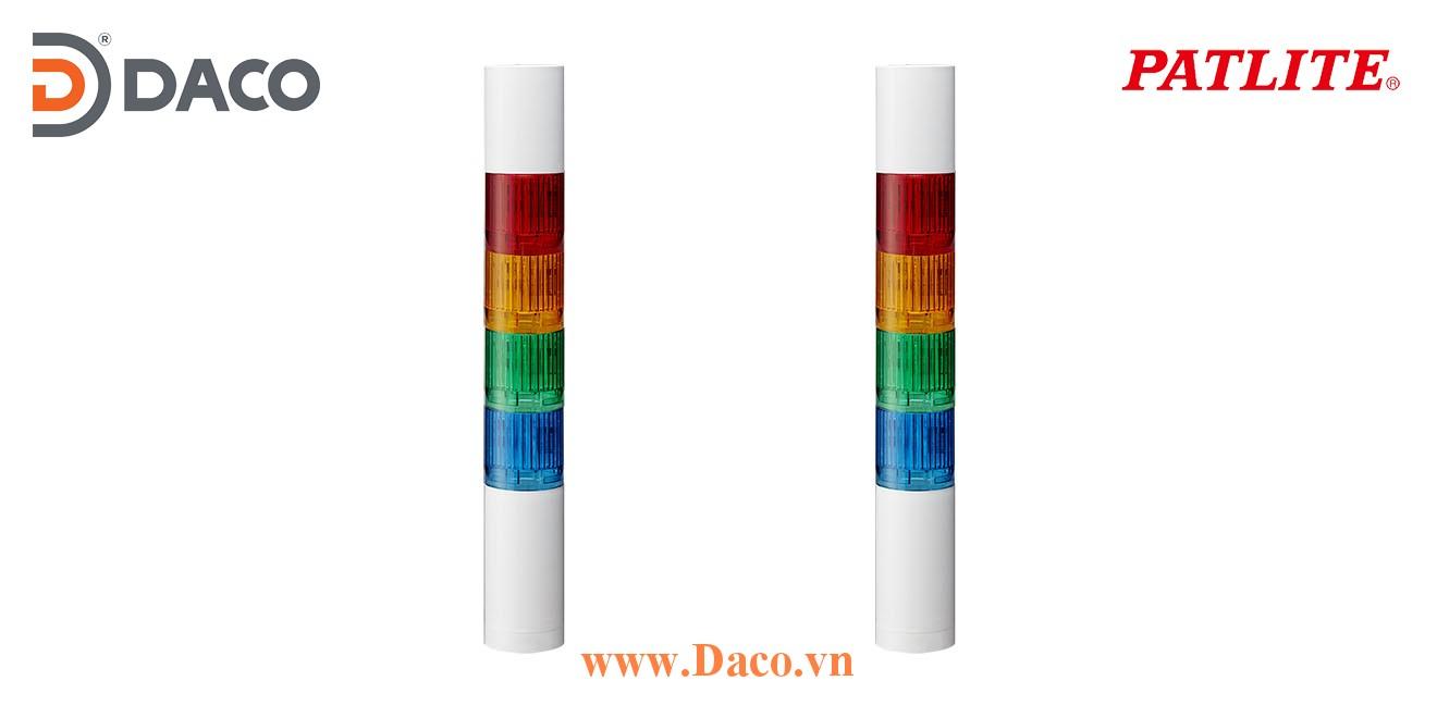 LR4-402WCBW-RYGB Đèn tháp báo hiệu Patlite Φ40 Bóng LED 4 tầng Còi Buzzer 85dB IP65