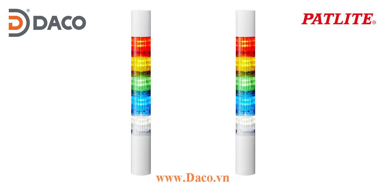 LR4-502WCBW-RYGBC Đèn báo tháp Patlite Φ40 Bóng LED 5 tầng Còi Buzzer 85dB IP65