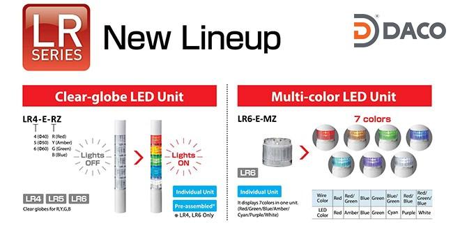 LR5-502PJBW-RYGBC Đèn tháp Patlite Φ50 Bóng LED 5 tầng Còi Buzzer 85dB IP65