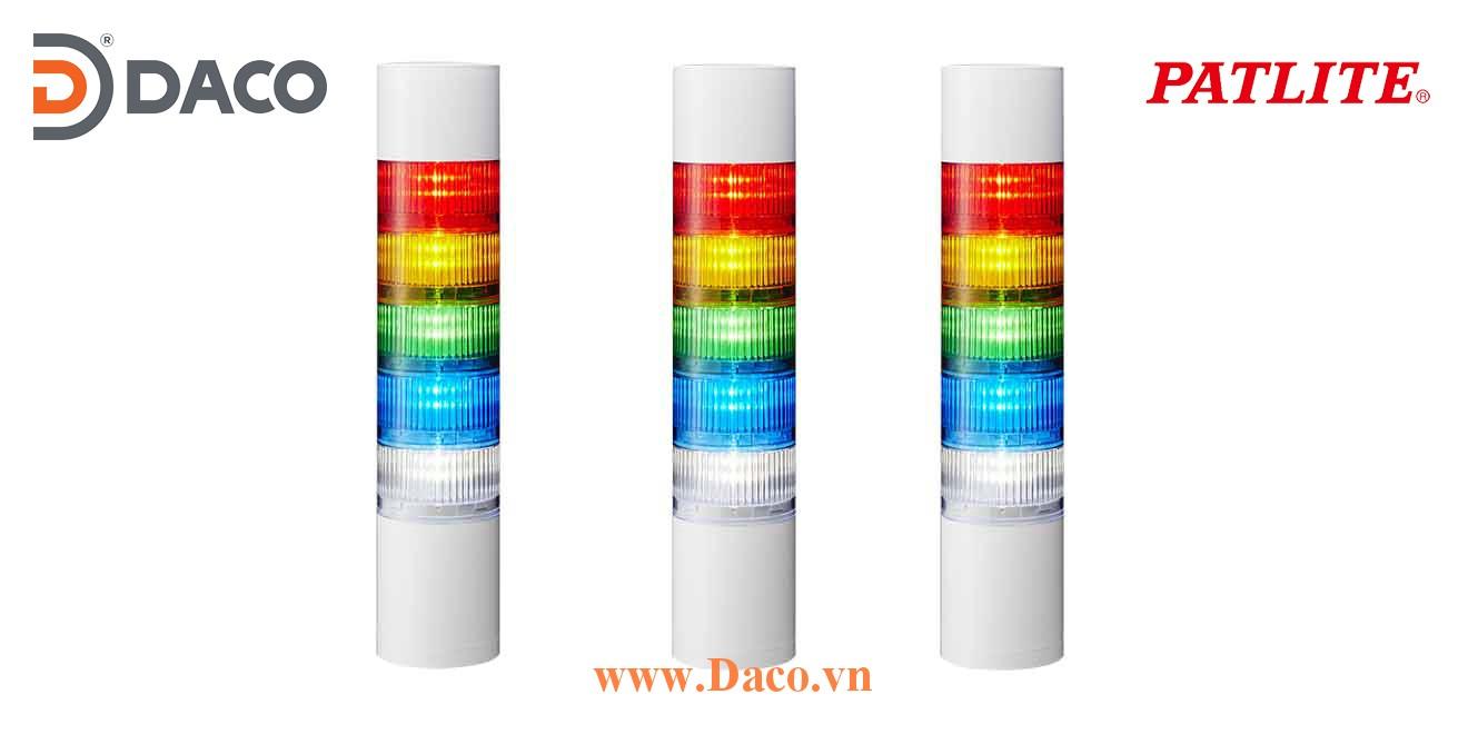 LR7-502WJBW-RYGBC Đèn tháp ghép module Patlite Φ70 Bóng LED 5 tầng Còi Buzzer 88dB IP65