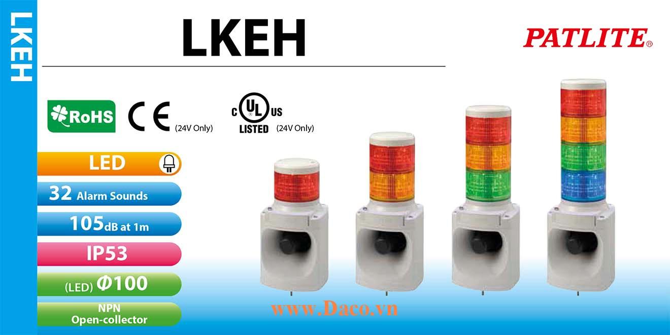 LKEH-420FE-RYGB Đèn tháp có loa Patlite 4 Tầng Φ100 Bóng LED 32 âm 105dB IP53