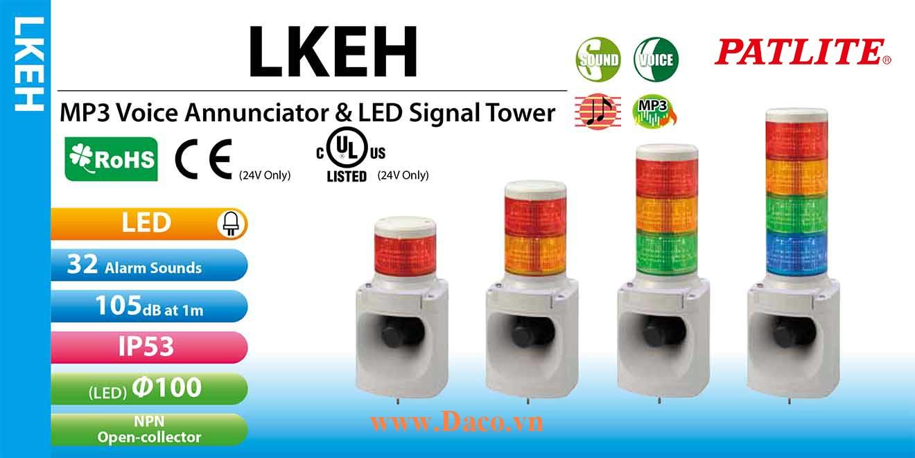 LKEH-420FV-RYGB Đèn tháp có loa Patlite 4 Tầng Φ100 Bóng LED 32 âm 105dB MP3 IP53