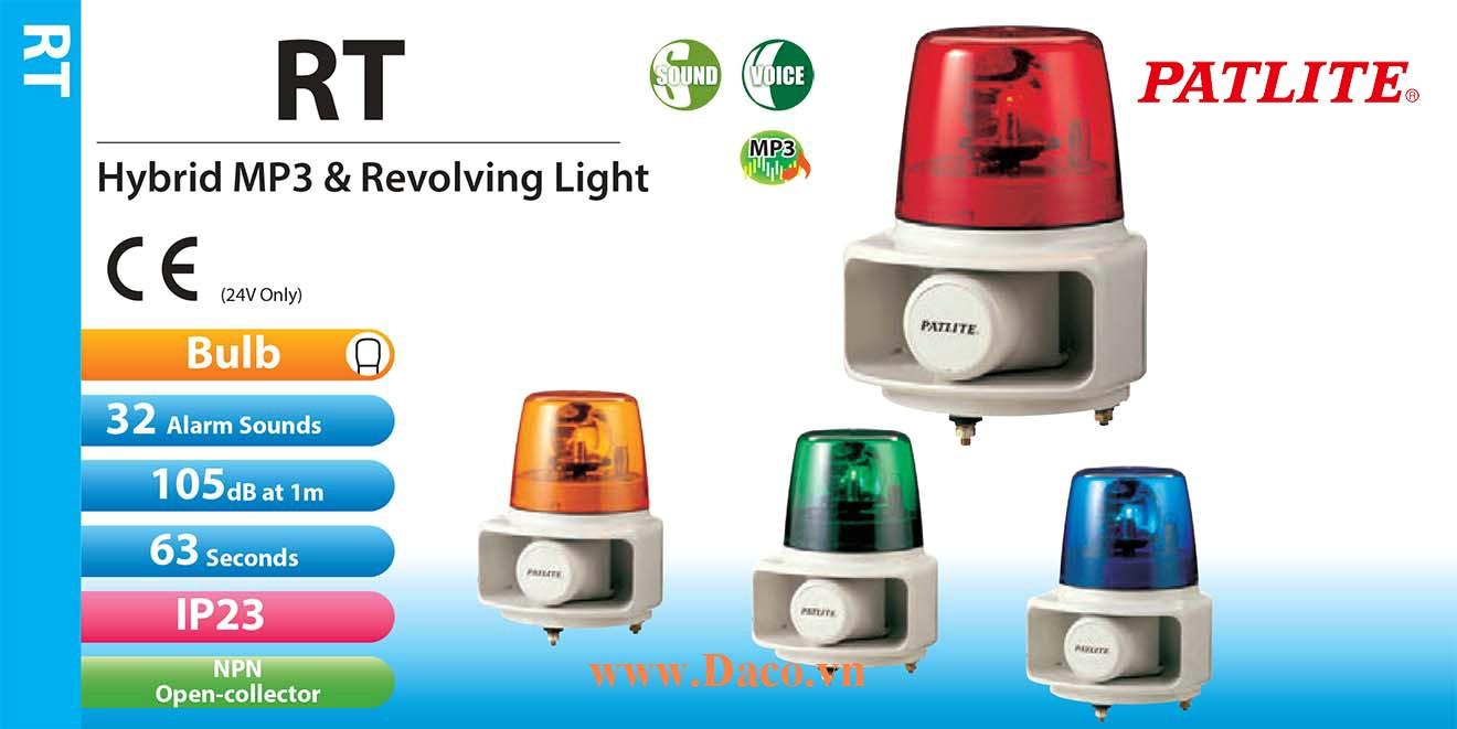 RT-24VF-R Đèn quay có loa MP3 Patlite Φ162 Bóng Sợi đốt 32 âm mp3 63sec 105dB IP23