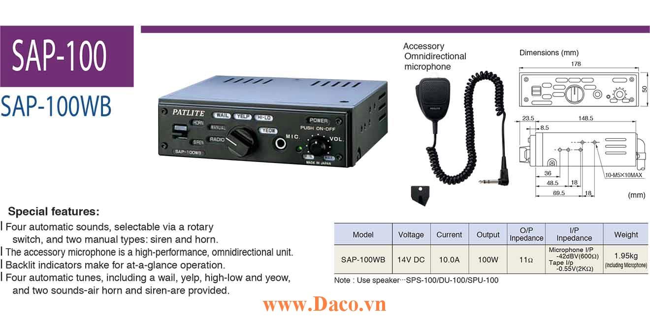 SAP-100WB Bộ tạo tín hiệu còi hú cho xe ưu tiên Patlite Nhật bản 100W