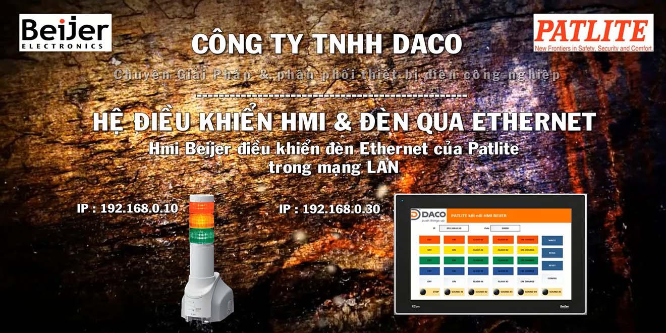 Màn hình cảm ứng HMI Beijer Điều khiển đèn tháp Ethernet Patlite Qua mạng LAN-Video