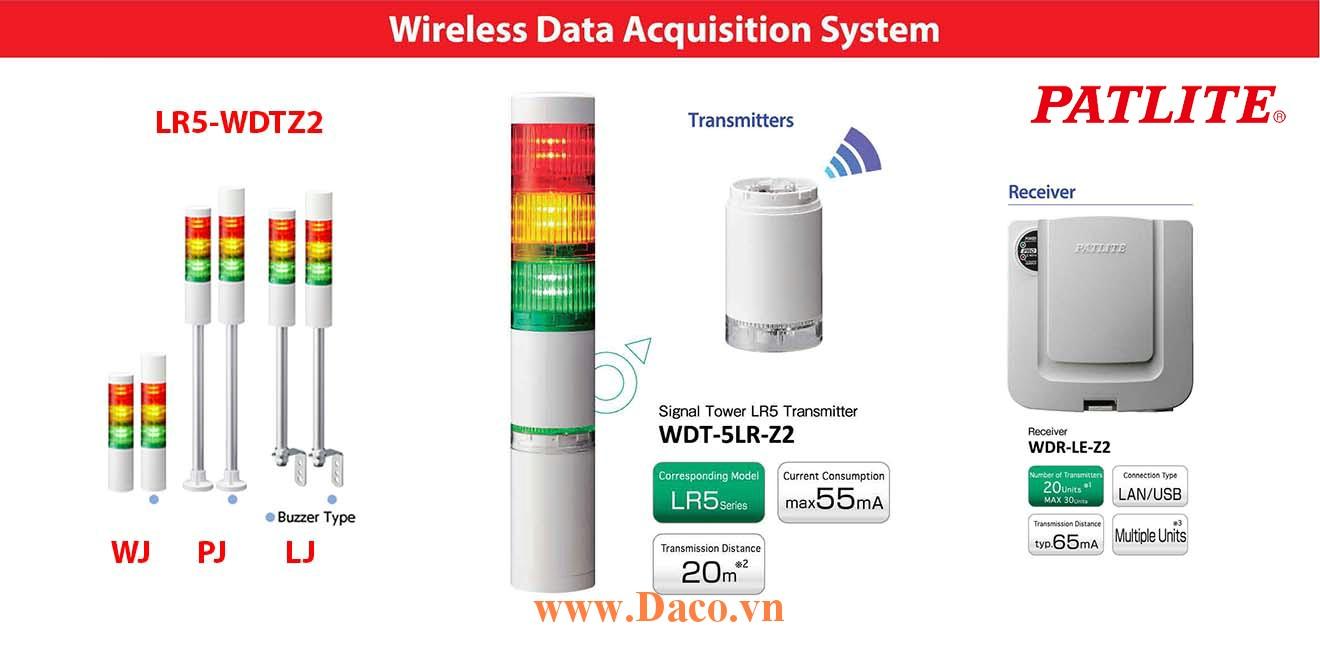 LR5-WDTZ2-501QJNW-RYGBC Đèn tháp không dây Patlite Φ50 Bóng LED 5 tầng IP65