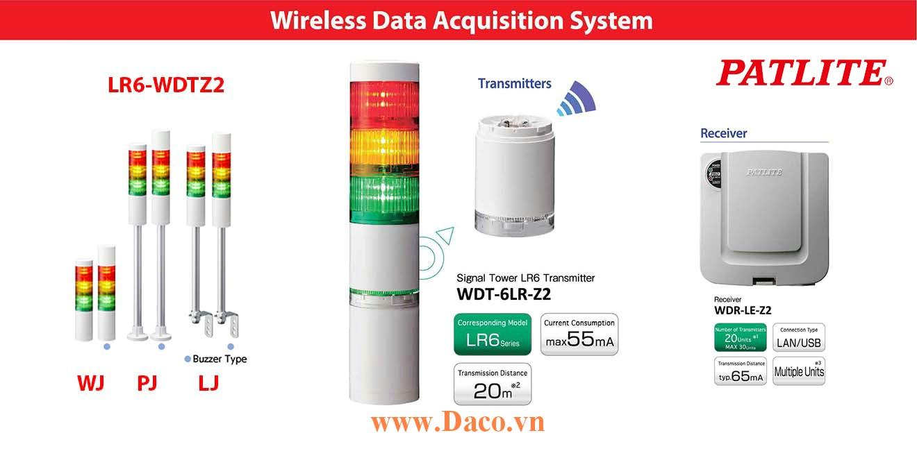LR6-WDTZ2-5M2QJNW-RYGBC Đèn báo hiệu tháp Patlite không dây Φ60 Bóng LED 5 tầng IP65