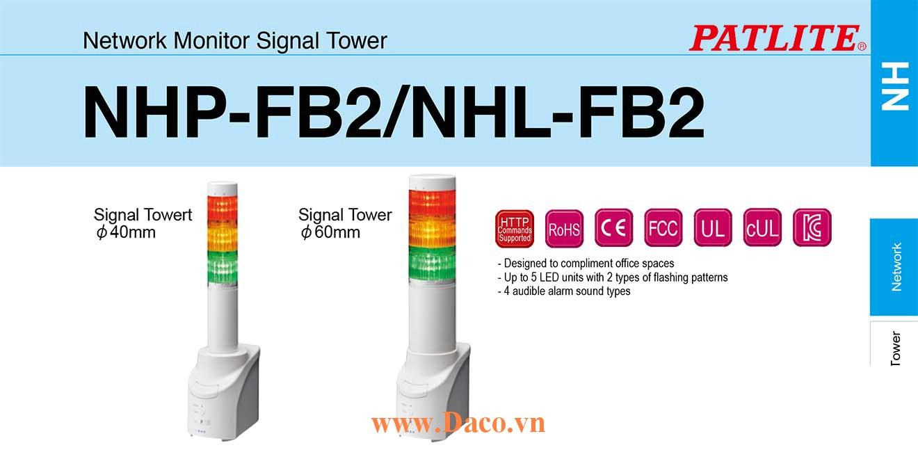 NHP-1FB2N-R Đèn tháp điều khiển mạng LAN Patlite Φ40 Bóng LED 1 tầng Còi Buzzer IP65