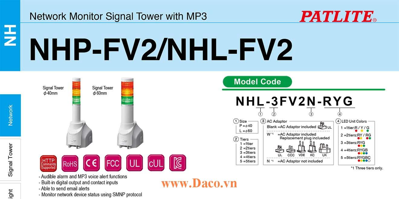 NHP-1FV2N-R Đèn tháp điều khiển mạng LAN Patlite Φ40 Bóng LED 1 tầng Còi MP3 IP65