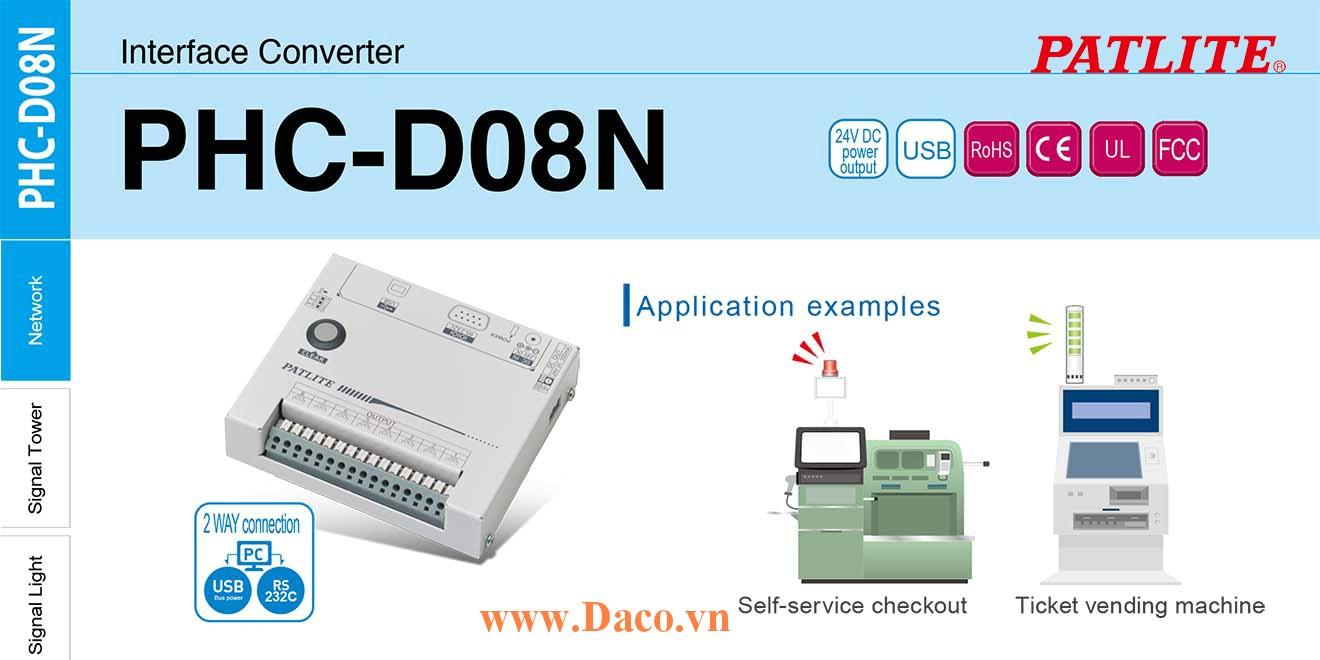 PHC-D08 Bộ giao tiếp USB-RS232 điều khiển 8 kênh đầu ra relay IP20