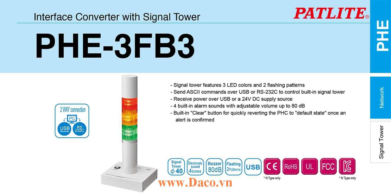 PHE-3FB3-RYG Đèn tháp điều khiển qua USB COM Patlite Φ40 Bóng LED 3 tầng Còi Buzzer 80dB IP20