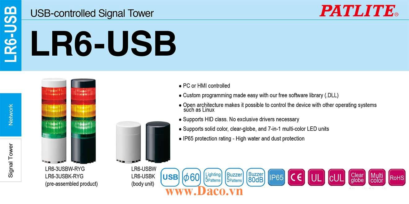 LR6-3USBK-RYG Đèn tháp điều khiển qua USB Patlite Φ60 Bóng LED 3 tầng Còi Buzzer 80dB IP65