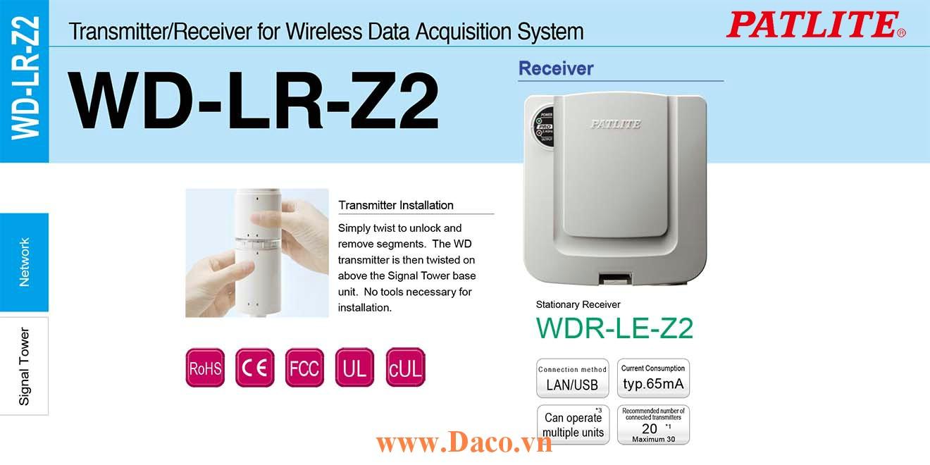 WDR-LE-Z2 Bộ thu tín hiệu không dây Patlite 125x132x39 Wifi, LAN, USB Sử dụng cho đèn tháp LR, LE, LME IP20
