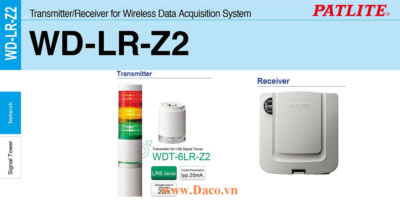 WDT-6LR-Z2 Module phát tín hiệu không dây cho đèn tháp Patlite Φ60 Wifi Đèn tháp LR6 IP65