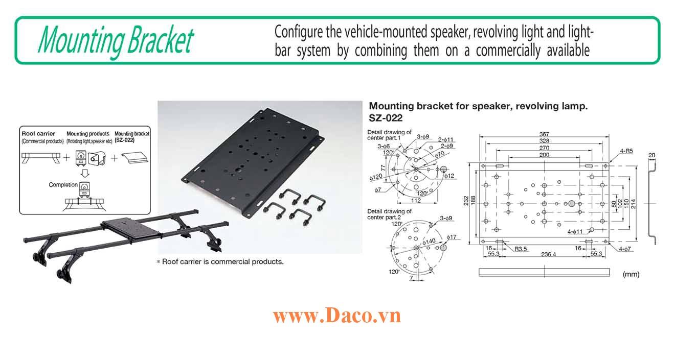 Gá nóc treo đèn xe ưu tiên LightBar Patlite SZ-022