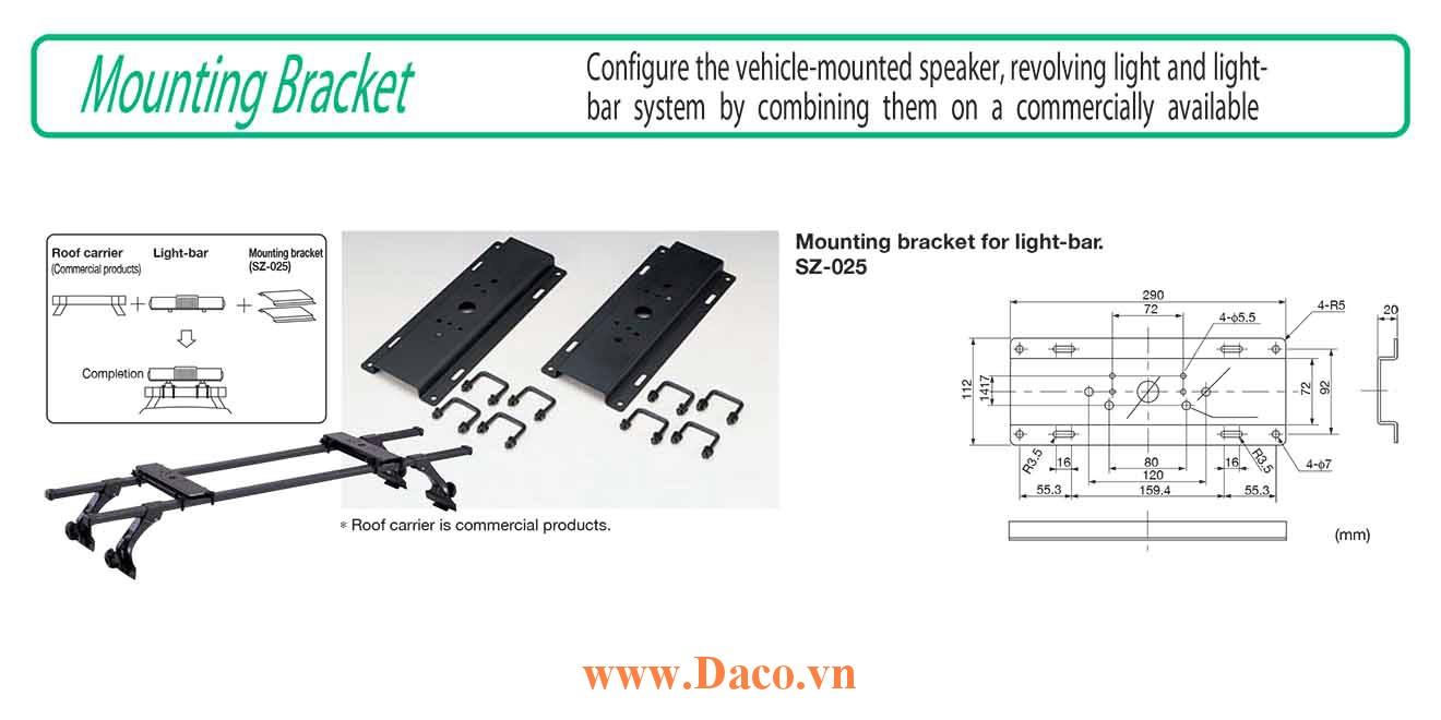 Gá nóc treo đèn xe ưu tiên LightBar Patlite SZ-025