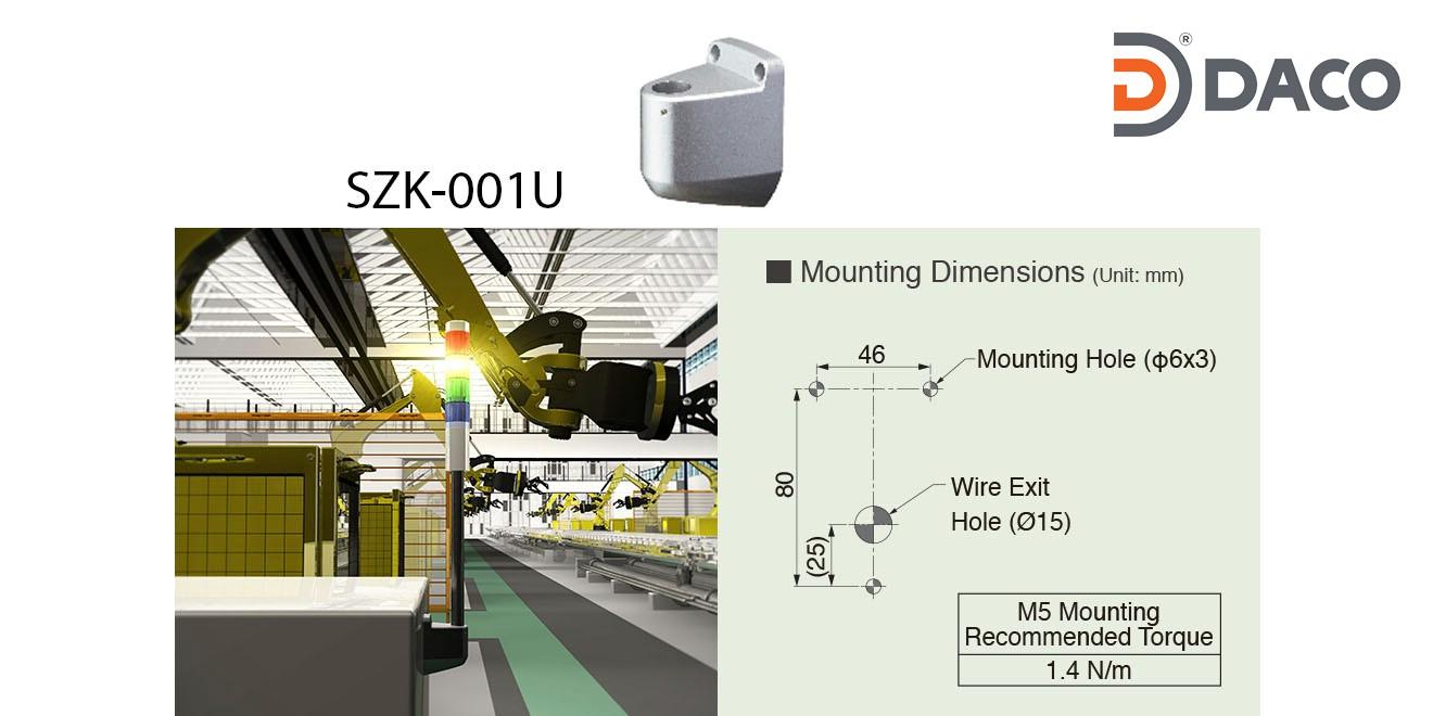 SZK-001U Chân gá đèn tháp Patlite dòng LR Gá gắn tường trụ tròn Φ22, Hợp kim nhôm